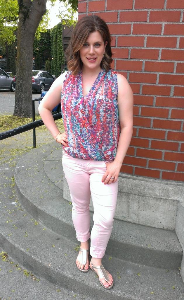 pink pants, surplice top, nursing clothing