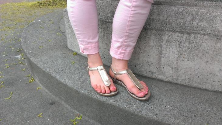 cole haan gold sandals pink pants