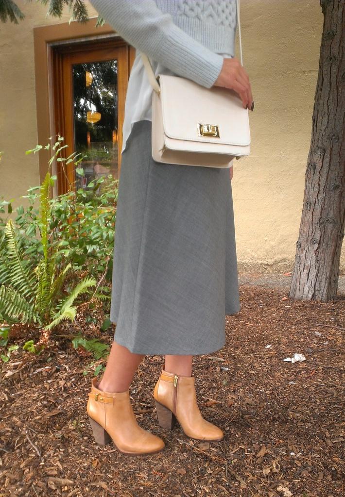 Skirt, bag, boots