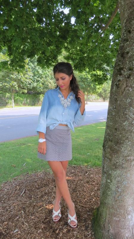 chambray shirt and skirt
